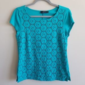The Limited Medium Turquoise Short Sleeve Top